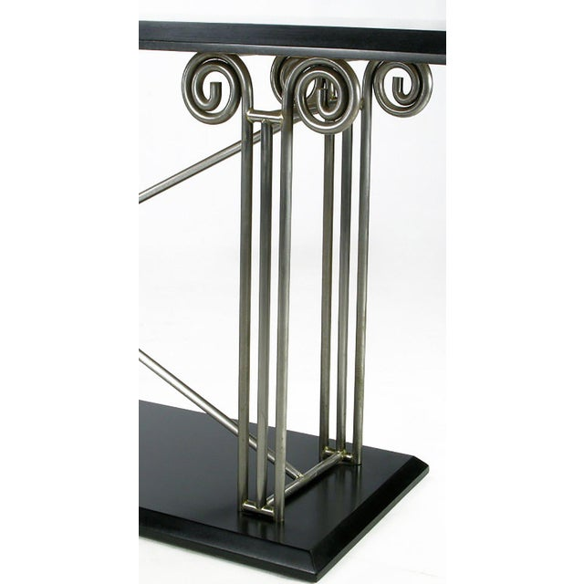 1970s Milo Baughman Postmodernist Ionic Columns Console Table For Sale - Image 5 of 7