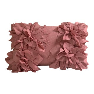 Shabby Chic Lili Alessandra's Wool Blend Lumbar Flower Pillow For Sale
