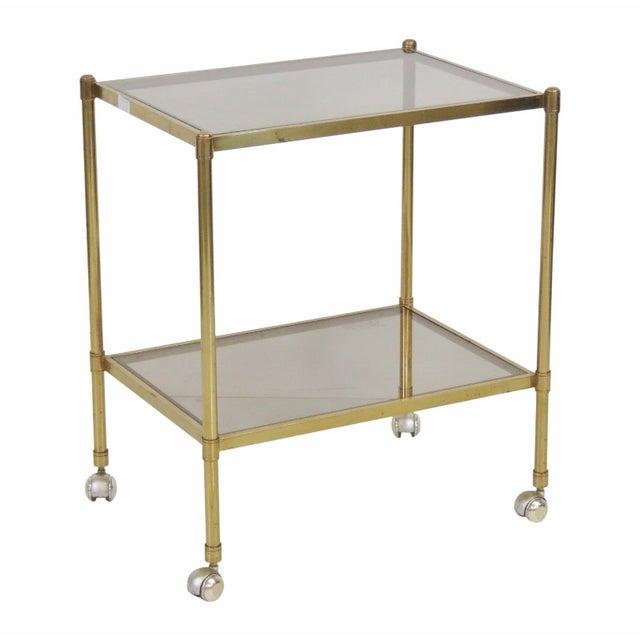Mid-Century Modern Brass & Glass Bar Cart - Image 1 of 5