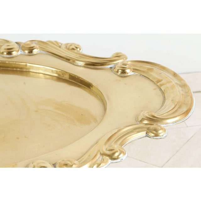 Hollywood Regency Oval Brass Tray Table For Sale - Image 4 of 8