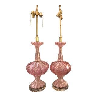 Pair of Unusual Pink Seguso Murano Italian Art Glass Lamps For Sale
