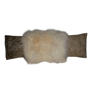 Contemporary White Fox and Gold Embossed Velvet Long Lumbar Pillow For Sale
