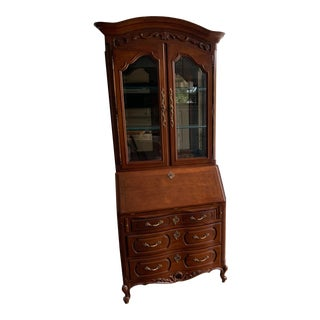 Louis XV Century Furniture Secretary Desk With Mirrored Glass Display Hutch For Sale