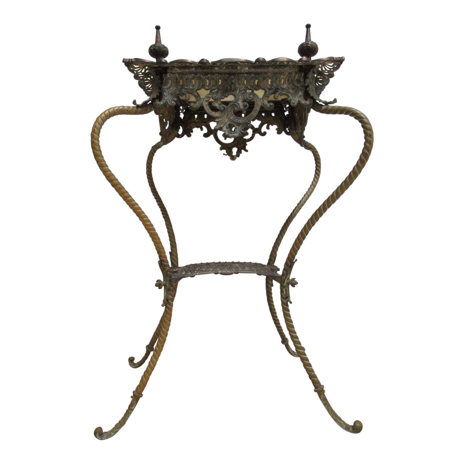 Antique Victorian Brass Marble Spider Leg Pedestal Plant Stand -