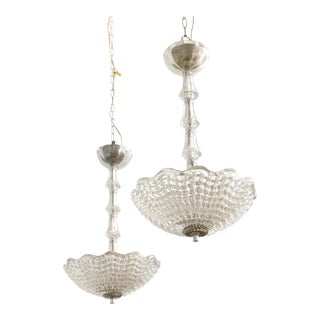 Pair of Venetian Glass Chandeliers by Barovier and Toso