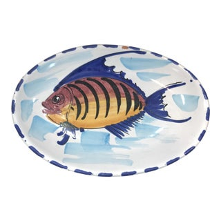 Vintage Vietri Italian Terra Cotta Fish Serving Plate For Sale