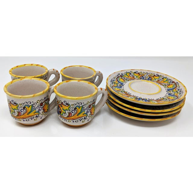 Set of four (4) vintage Meridiana Ceramiche Majolica Italian hand painted demitasse espresso cups and saucers. All in...