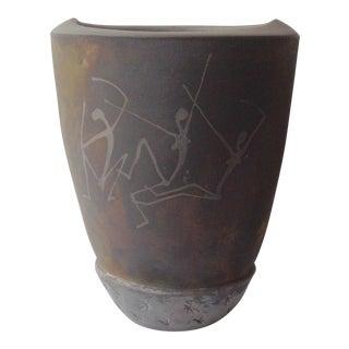 1991 Peter Harris Ceramic Raku Vessel