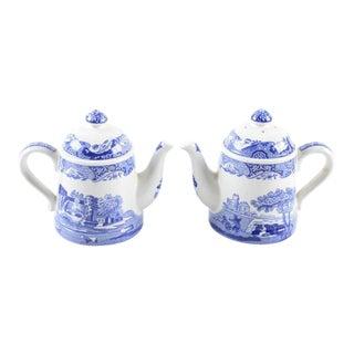 Spode Blue Italian Teapot Salt & Pepper Shakers - A Pair