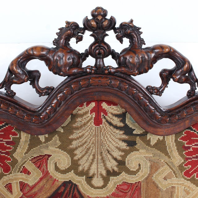 19th Century 19th C. Carved Walnut Fireplace Screen With Tapestry For Sale - Image 5 of 13