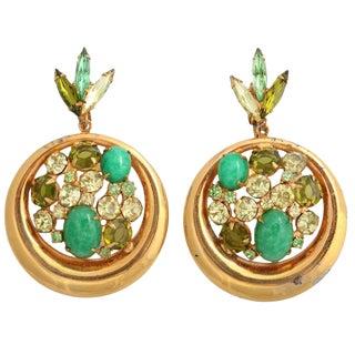 "Green Rhinestone and ""Gold"" Hoop Earrings For Sale"