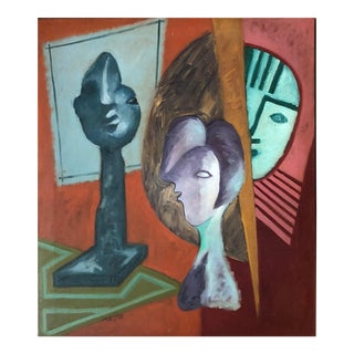 Vintage 1980s Abstract Still Life Painting Signed Mariko Nutt For Sale
