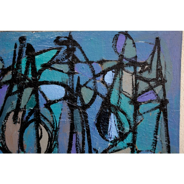 """Blue """"Sea Moons"""" Acrylic on Canvas by Artist Kenneth Joaquin For Sale - Image 8 of 13"""
