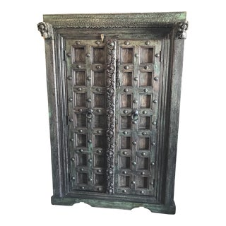 Repurposed Antique Indian Door Armoire For Sale