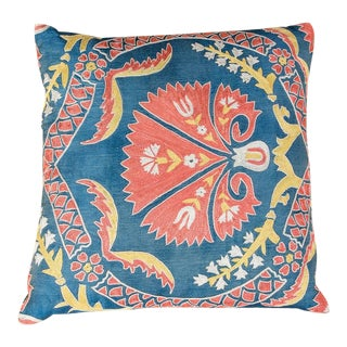 Vintage Designer Embroidered Blue Sofa Pillow For Sale