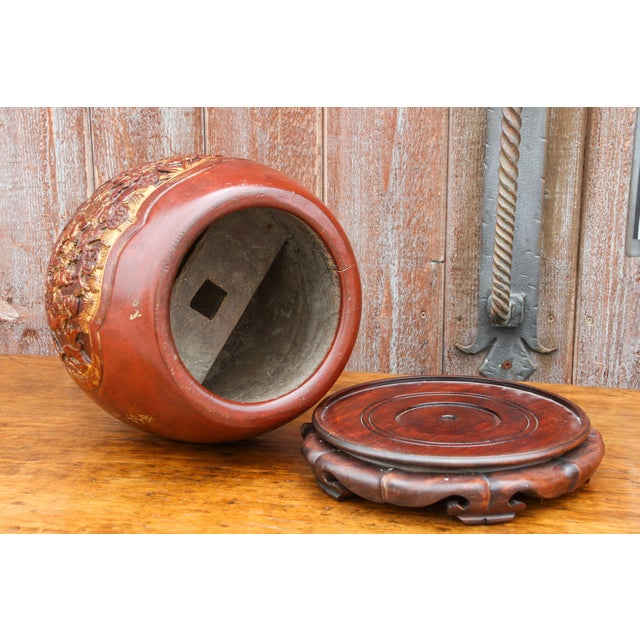 Shou Lao Carved Barrel Container on a Stand For Sale - Image 9 of 11