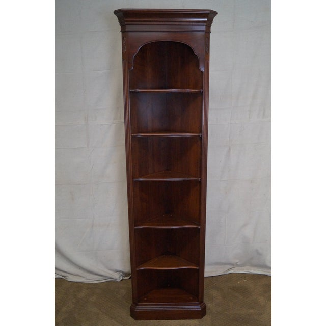 Ethan Allen Georgian Court Solid Cherry Narrow Corner Cabinets - a Pair - Image 5 of 10