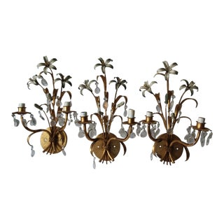 Italian Tole Floral Wall Sconces - Set of 3 For Sale
