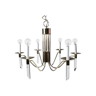 Six Light Brass & Lucite Chandelier For Sale