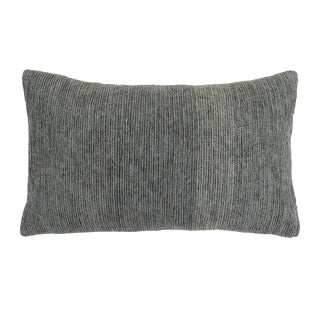 Contemporary Tr Essentials Grey Chenille Embroidery Pillow - 12x20 For Sale