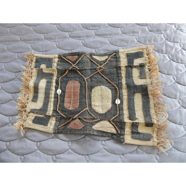 1970s Vintage Brown and Black Earth Tones African Applique Kuba Textile Fragment For Sale - Image 5 of 5