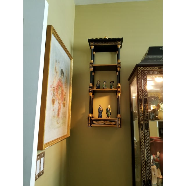 Asian Last Call Black & Gold Asian Shelving Unit For Sale - Image 3 of 9