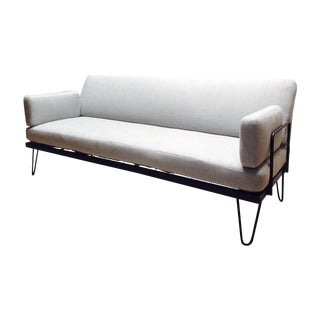Rare SoCal Mid-Century Iron Frame Gray Sofa For Sale