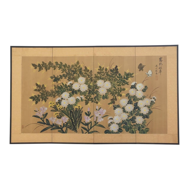 Chinese Hand Painted Floral Screen or Mural For Sale