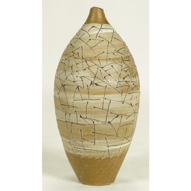 Abstract Hand Thrown & Glazed Terra Cotta Free Edge Vase For Sale - Image 3 of 8