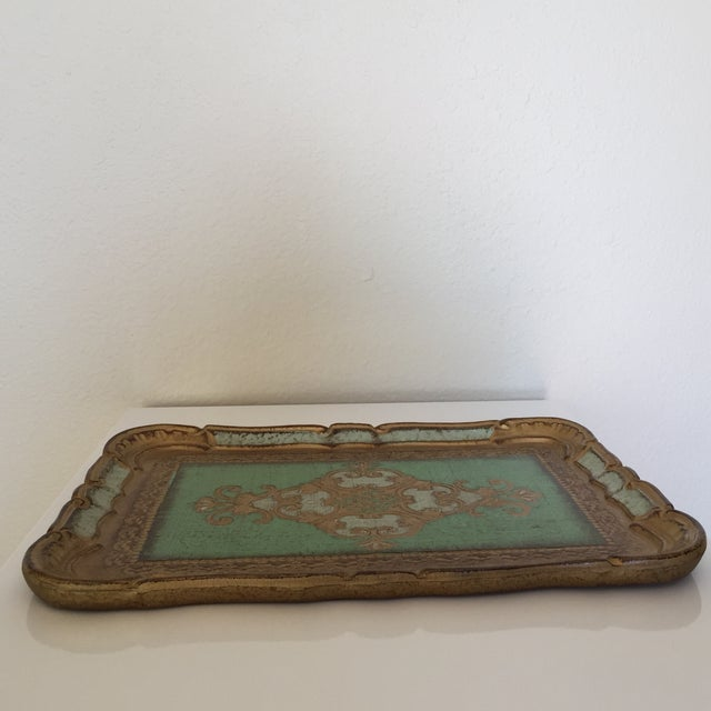 Green & Gold Italian Florentine Tray - Image 5 of 6
