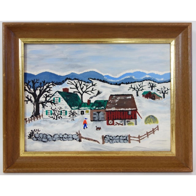 Framed Folk Art Winter Homestead Painting For Sale - Image 9 of 9