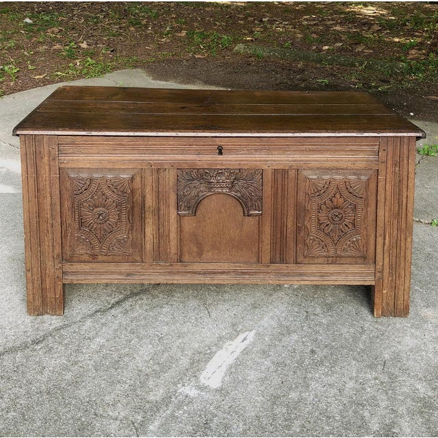 Early 19th Century Country French Rustic Oak Trunk For Sale - Image 13 of 13