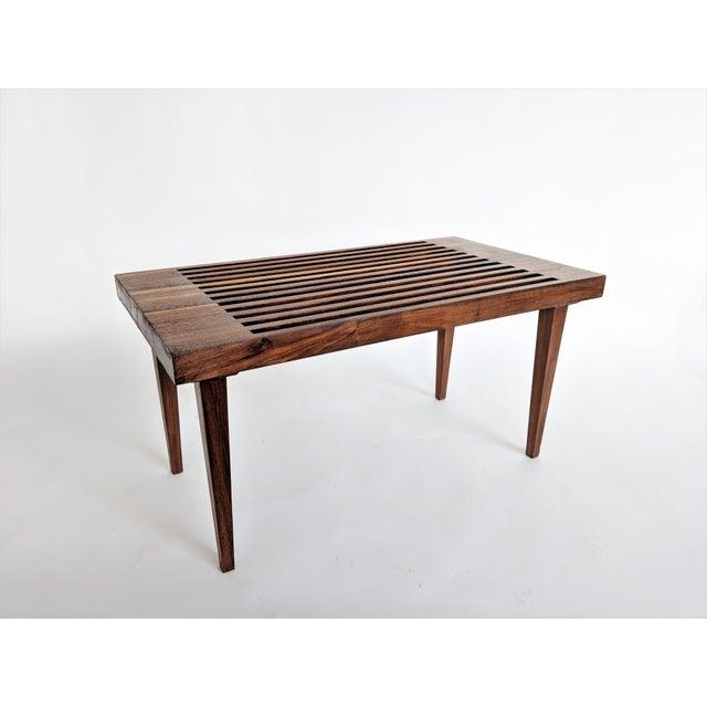 Mid Century Modern Wooden Slat Bench - Image 8 of 9