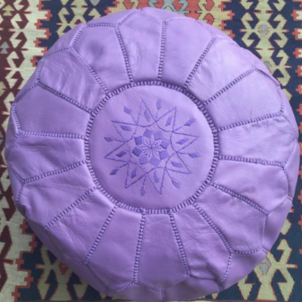 Traditional Purple Leather Pouf - Image 4 of 4