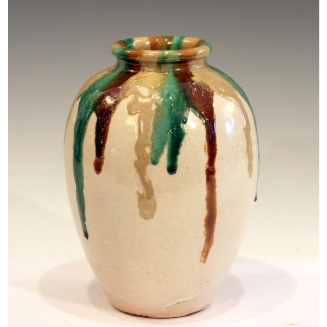 Art Deco Awaji Pottery Art Deco Vase in Tricolor Drip Glaze For Sale - Image 3 of 9