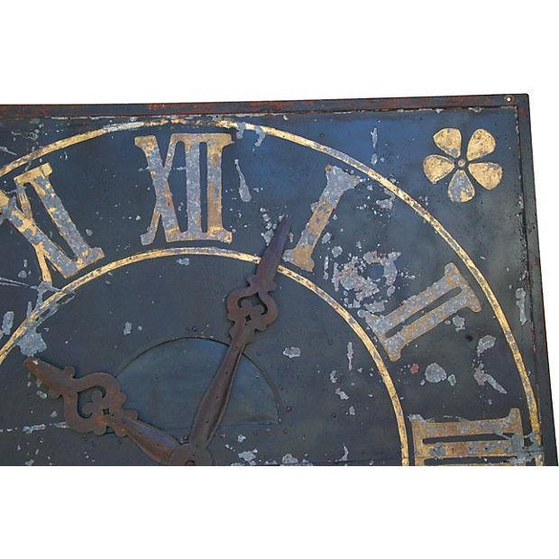 "Abstract X-Large Stunning Antique French Iron & Gilt Tower Clock Face 79"" Square For Sale - Image 3 of 9"
