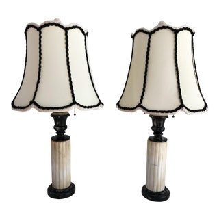 1930s French Art Deco Black & Ivory Table Lamps - a Pair For Sale