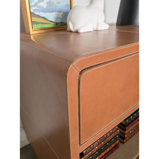 Made Goods Made Goods Dante Double Nightstand in Aged Camel Leather For Sale - Image 4 of 13