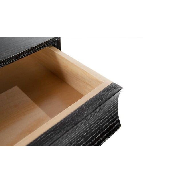 Stamford Modern's Stacked Bedside Tables in Black Ceruse - a Pair For Sale - Image 10 of 11