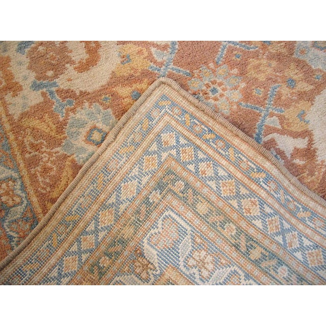 """1910s 1910s Traditional Blue and Peach Cotton Rug - 4'2""""x6'8"""" For Sale - Image 5 of 8"""