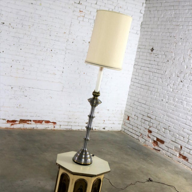 Stiffel Stiffel Tall Table Lamp or Low Floor Lamp Mid Century Brass and Brushed Stainless Steel For Sale - Image 4 of 13