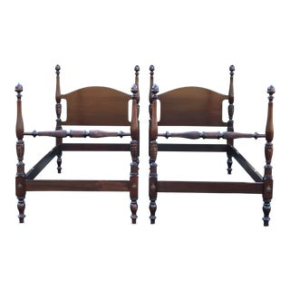 Solid Mahogany Acorn Top Twin Beds- a Pair For Sale
