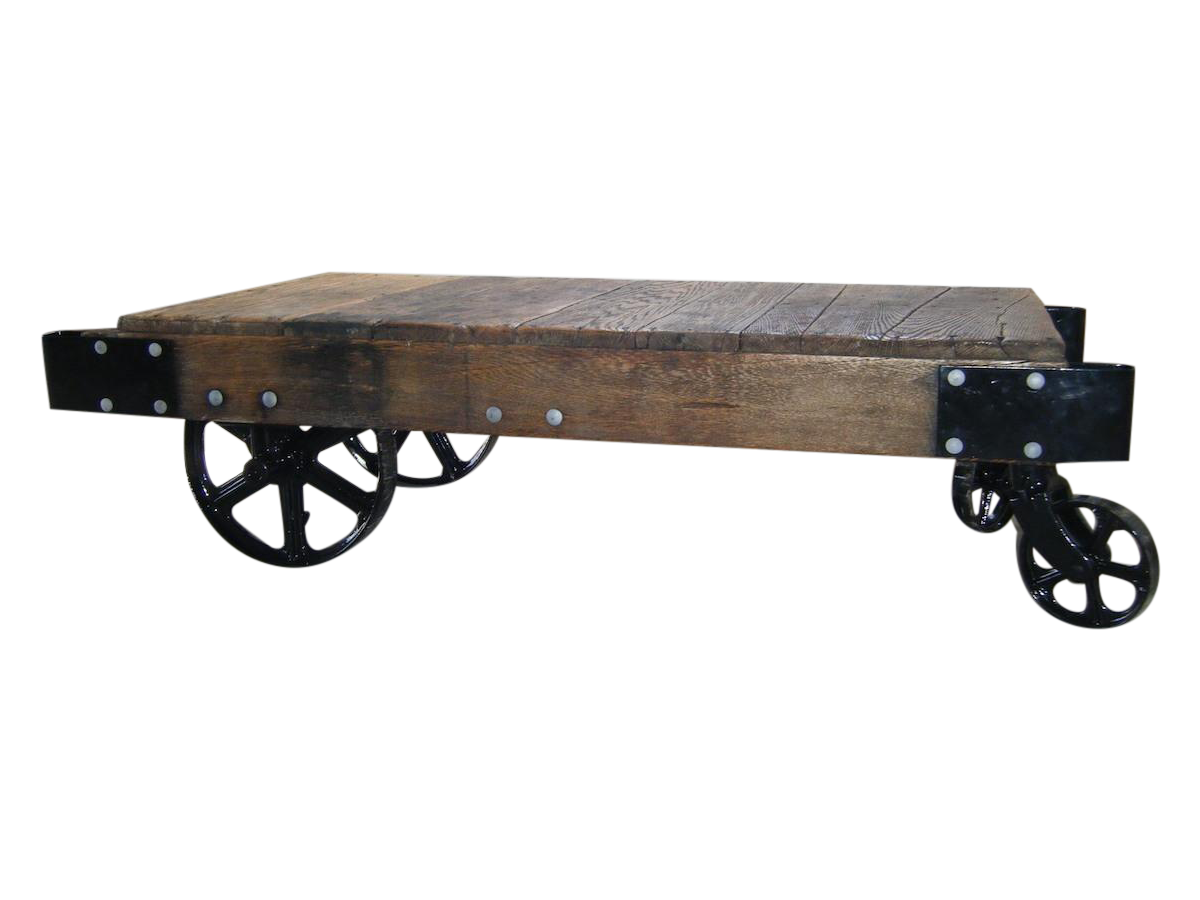 Antique Industrial Wood U0026 Iron Factory Cart Table