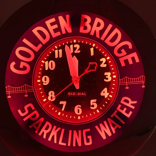 "Blue Art Deco Neon Glo-Dial ""Golden Bridge Sparkling Water"" Advertising Clock For Sale - Image 8 of 11"