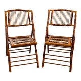 Image of Vintage Bamboo Folding Chairs, Pair For Sale