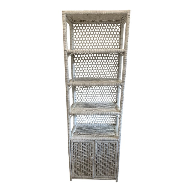 Vintage Tall Rustic White Wicker Rattan Cabinet Shelf With Bottom Dual Magnetic Stay Shut Doors For Sale