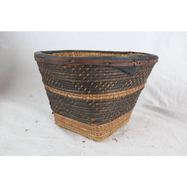 Animal Skin Small Ghanian Tribal Woven Basket For Sale - Image 7 of 7