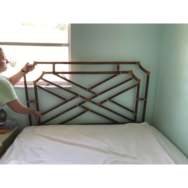 Brown Vintage Chippendale Double or Queen Bamboo Pagoda Headboard For Sale - Image 8 of 9