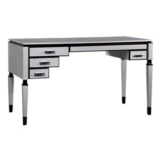 White Finished 4-Draw Asymmetrical Desk with Dark Accents by Jacobo Ventura for CA Spanish Handicraft For Sale