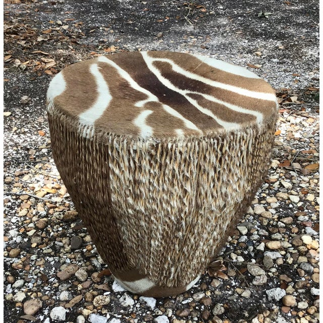 Tribal African Zebra Hide Tribal Drum Table For Sale - Image 3 of 8